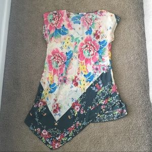 JOHNNY WAS Floral 100% Silk V-Neck Top Tunic